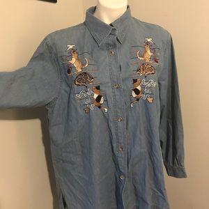 Passion large 100% cotton denim cat shirt